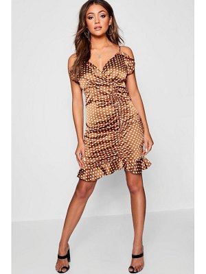 Boohoo Satin Polka Dot Ruffle Bodycon Dress