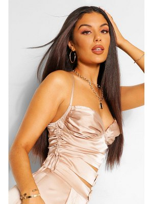Boohoo Satin Ruched Cami Top