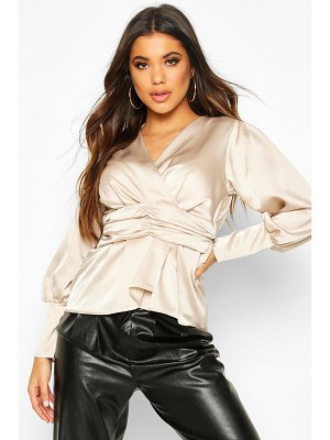 Boohoo Satin Ruched Front Blouse