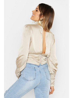 Boohoo Satin Ruched Open Back Blouse