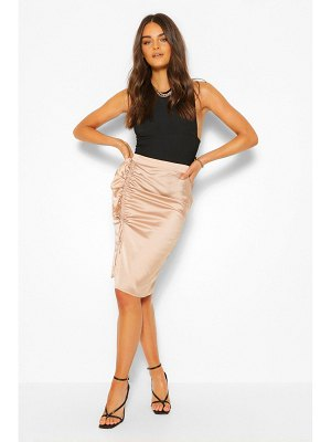 Boohoo Satin Ruched Ruffle Midi Skirt