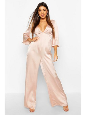 Boohoo Satin Ruched Wide Leg Jumpsuit