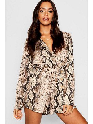 Boohoo Satin Snake Button Wrap Playsuit