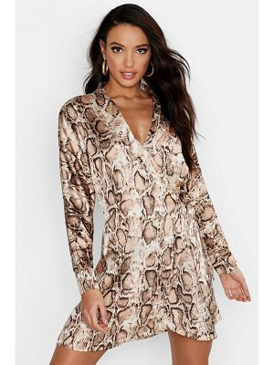 Boohoo Satin Snake Print Wrap Dress