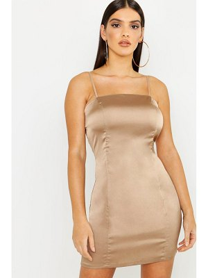Boohoo Satin Square Neck Bodycon Dress