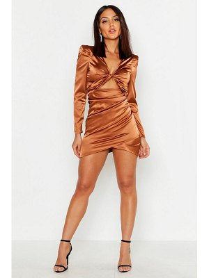 Boohoo Satin Twist Front Cut Out Dress