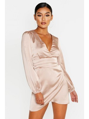 Boohoo Satin Wrap Detail Mini Dress