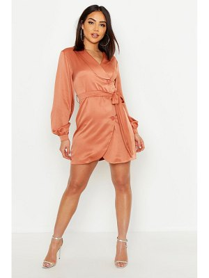 Boohoo Satin Wrap Over Tie Waist Dress