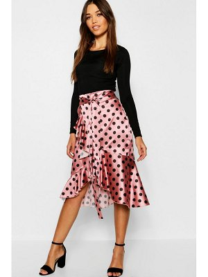 Boohoo Satin Wrap Polka Dot Midi Skirt