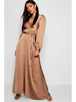 Boohoo Satin Wrap Tie Belt Maxi Dress