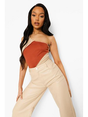 Boohoo Seam Detail One Shoulder Rib One Piece