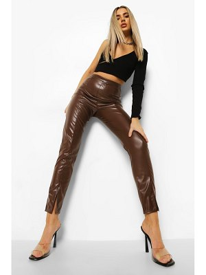 Boohoo Seam Front Split Hem Leather Look Pu Leggings