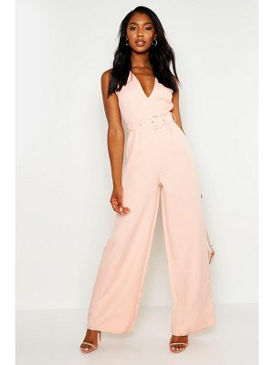 Boohoo Self Belt V Neck Wide Leg Jumpsuit
