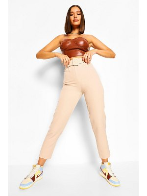 Boohoo Self Fabric Belted Tailored Pants