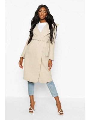 Boohoo Self Fabric Buckle Belted Wool Look Coat