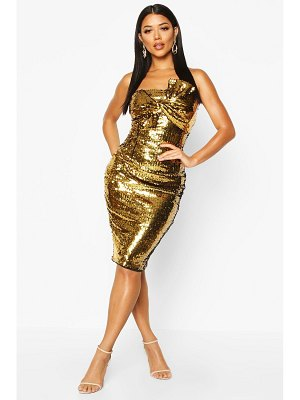 Boohoo Sequin Bow Midi Dress