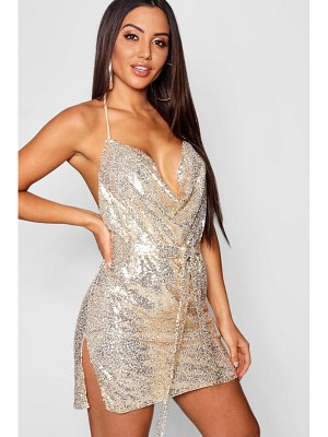 Boohoo Sequin Cowl Neck Belted Mini Dress