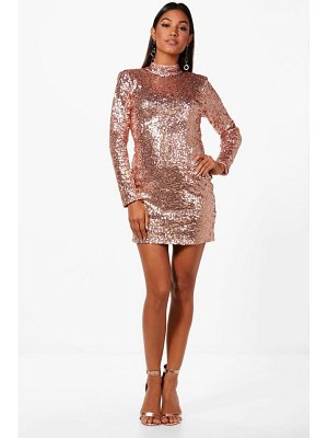 Boohoo Sequin High Neck Power Shoulder Bodycon Dress