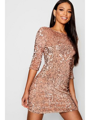 Boohoo Sequin Long Sleeve Bodycon Dress