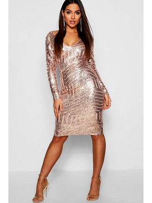 Boohoo Sequin & Mesh Plunge Neck Midi Dress
