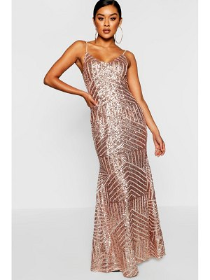 Boohoo Sequin & Mesh Strappy Maxi Dress
