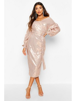 Boohoo Sequin Off The Shoulder Tie Waist Midi Dress