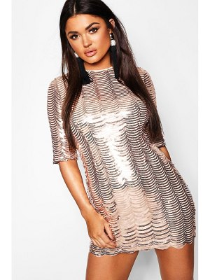 Boohoo Sequin Scallop 3/4 Sleeve Bodycon Dress