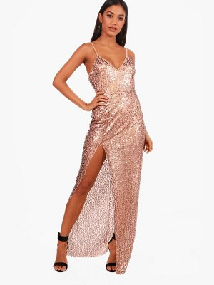 Boohoo Sequin Split Maxi Dress