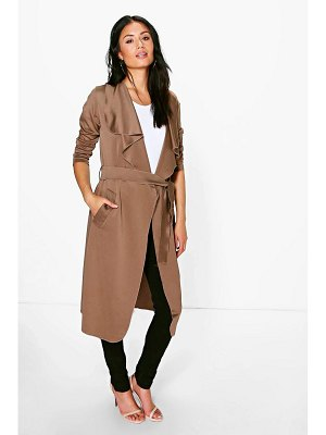 Boohoo Shawl Collar Belted Duster
