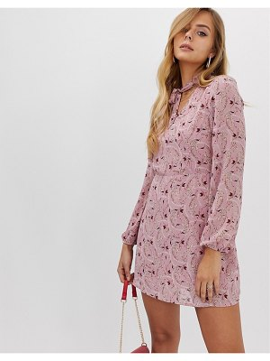 Boohoo shift dress with pussybow in pink floral