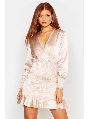 Boohoo Shirred Balloon Sleeve Mini Dress