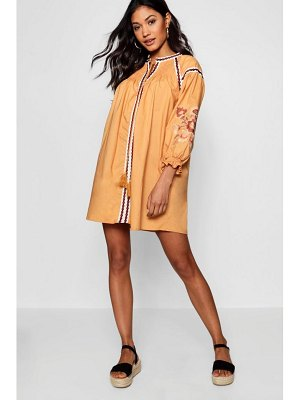 Boohoo Shirred Shoulder Embroidered Smock Dress