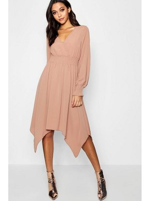 Boohoo Shirred Waist Hanky Hem Midi Dress