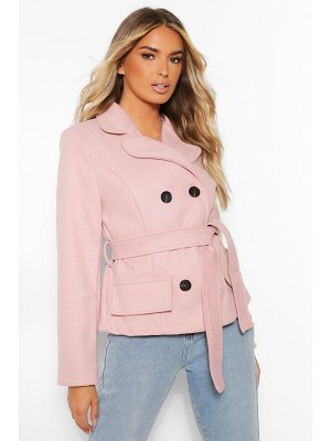Boohoo Short Double Breasted Wool Look Coat
