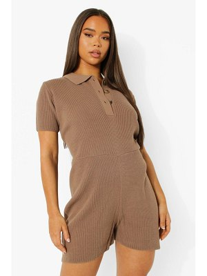 Boohoo Short Sleeve Knitted Romper