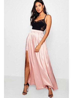 Boohoo Side Split Satin Maxi Skirt