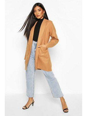 Boohoo Single Breasted Pocket Detail Wool Look Coat