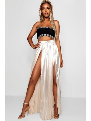 Boohoo Metallic Pleated Split Front Maxi Skirt