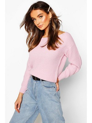 Boohoo Slash Neck Crop Fisherman sweater