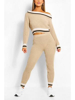 Boohoo Slash Neck Stripe Lounge Set