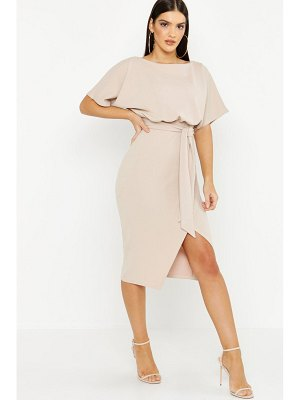 Boohoo Slash Neck Tie Waist Midi Dress