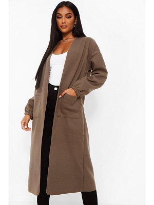 Boohoo Sleeve Detail Wool Look Coat