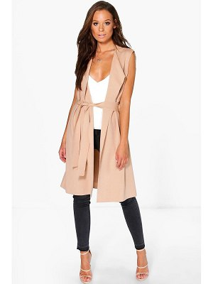 Boohoo Sleeveless Belted Duster