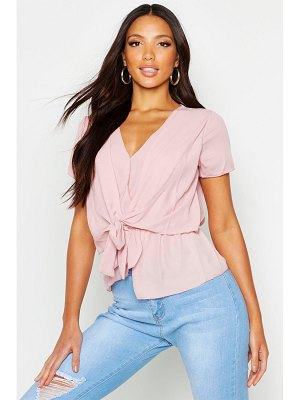 Boohoo Sleeveless Wrap Front Knotted Blouse