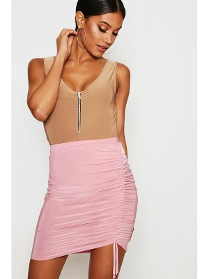 Boohoo Slinky Asymetric Drawcord Mini Skirt