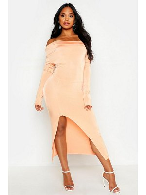Boohoo Slinky Cowl Front Ruched Midi Dress