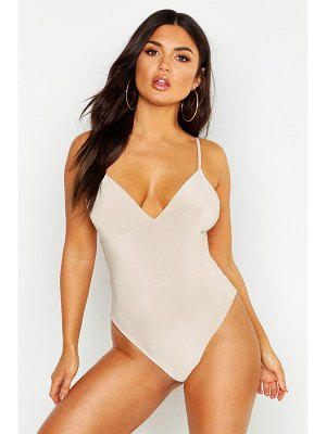 Boohoo Slinky Double Layer Plunge Sleeveless Bodysuit