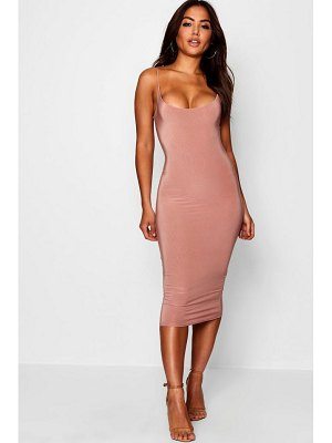 Boohoo Slinky Double Layer Strappy Midi Dress