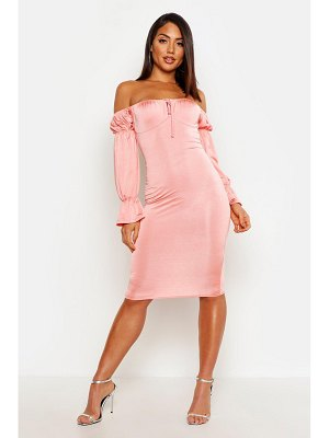 Boohoo Slinky Long Sleeve Bardot Bodycon Midi Dress