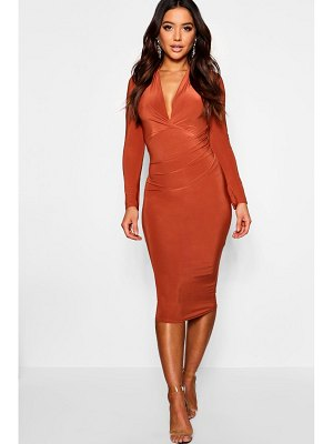 Boohoo Slinky Plunge Neck Long Sleeve Midi Dress